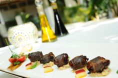 Bacon wrapped dates with apple and mustard relish