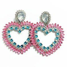 Heart Earrings, Women's Earrings, Pink Cotton Candy, Crystal Pendant, Bohemian Jewelry, Heart Charm, Pink Blue, Heart Ring, Dangles