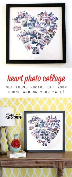 Cool DIY Photo Projects and Craft Ideas for Photos - Heart Photo Display - Easy Ideas for Wall Art, Collage and DIY Gifts for Friends. Wood, Cardboard, Canvas, Instagram Art and Frames. Creative Birthday Ideas and Home Decor for Adults, Teens and Tweens #artsandcraftshomes,