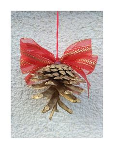 Items similar to Set of 8 gold pinecone ornament, Christmas tree ornament, Gold Christmas ornaments, Holiday ornament, Hanging pinecone ornament on Etsy Gold Christmas Ornaments, Pinecone Ornaments, Hanging Ornaments, Christmas Ideas, Xmas, Tree Quilt, Quilted Wall Hangings, Ribbon Colors, Cotton Quilts