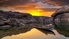 Tajlandia, Kanion Sam Phan Bok, Rzeka Mekong, Skały, Łódka, Zachód słońca
