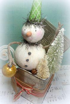 Holiday Decor Vintage Style Tea Time Snowman by CatandFiddlefolk, $69.00