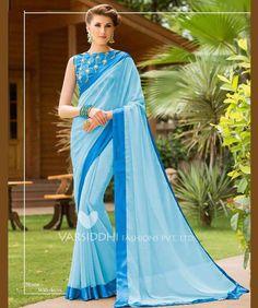 4af1835d3b0282 Blue Pure georgette Embroidery Saree