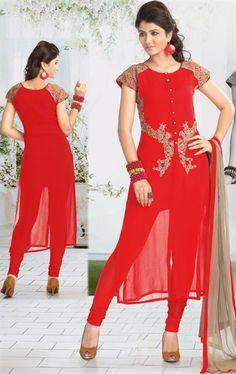 Scintillating Deep Red Color Salwar Kameez for Party