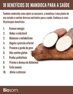 Clique na imagem e conheça os detalhes sobre os 10 principais benefícios da mandioca. #mandioca #alimento #alimentação #alimentaçãosaudável #saúde #bemestar