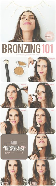 Contour + glow: how to use bronzer. #makeup #beauty