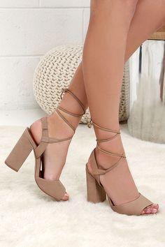 a10a641c0d5 Steve Madden Serrina Camel Leather Lace-Up Heels at Lulus.com! Grey Shoes