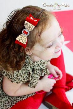 Red Brown Cheetah Headband - Cheetah Leopard Bow- Baby Felt Headband - Valentines Headband- Wool Felt Bow Headband - Girls Headband - Adult