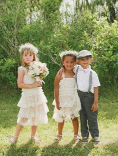 How adorable are these flower girl and ring-bearer outfits? From Scott & Abbey's Vintage Country MB wedding. Photo Sugar & Soul Photography.