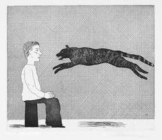 Black Cat Leaping. David Hockney. 1969