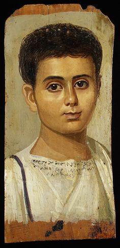 Portrait of a young boy, ca. mid Second Century A.D., Encaustic on wood, 39 x 19 cm; Metropolitan Museum of Art.