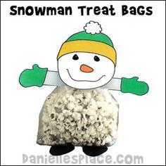 Snowman Popcorn Treat Bag Craft from www.daniellesplace.com