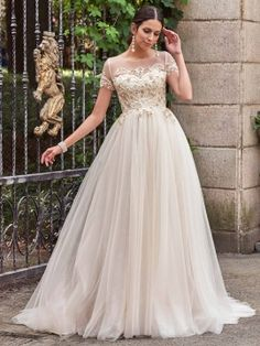 Short Sleeves Scoop Neck Beading A-Line Wedding Dress & vintage style Wedding Dresses