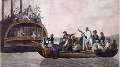 """1789 There is a mutiny on the """"Bounty"""" as the crew of the British ship set Captain William Bligh and 18 crewman adrift on the South Pacific. Hms Bounty, Mutiny On The Bounty, Pitcairn Islands, Tahiti, Cap Horn, William Bligh, Norfolk Island, Pandora, Sailing"""