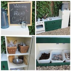 Mud Kitchen in our Outdoor Classroom.  I'd change some things but overall a cool idea.