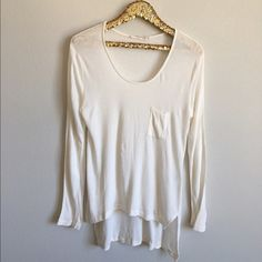 Hi-Lo Waffle Long Sleeve Tee Gently used, one small discolored spot on back of top you can barely see - picture above. Very comfy, perfect for a casual day and paired with a cute scarf. Anthropologie Tops Tees - Long Sleeve