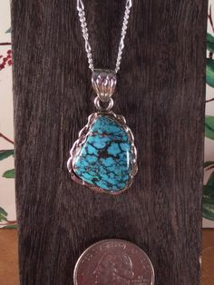Pendant Sterling Silver~Natural Cloud Mountain Turquoise 18