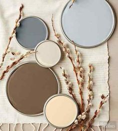 Although this stony-tone palette's charcoal and ash grays read as cool, reddish undertones heat up the cocoa brown, cream, and khaki hues to create a perfectly balanced mix of warm and cold temperatures. Try this palette in rooms outfitted with naturally warm-stained cabinets, flooring, and furniture./