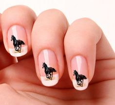 20 Nail Art Horse Decals - Black Horse