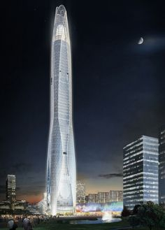 """Architecture: CTF Tianjin Tower by SOM: """"..a 96-storey building designed byinternational practiceSOM. concealed with curving glass curtain wall, eight inclined columns form the undulatingprofile's main structural framework. these elements collectively strengthen the stiffness of the tower, resolving thegravity-induced loads and lateral forces generated by seismic events. multi-storey wind vents expressed within the facadealong with an aerodynamic shape will reduce vortex shedding caused…"""