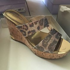 Marc fisher leopard sparkle wedges❤️ Pre owned, in great condition. Marc fisher leopard sparkle wedges. Comes with box Marc Fisher Shoes Wedges