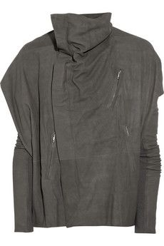 RICK OWENS  Sailbiker textured-leather trapeze jacket