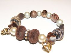Handmade Brown and gold beaded bracelet from by GabiLuBoutique, $24.00