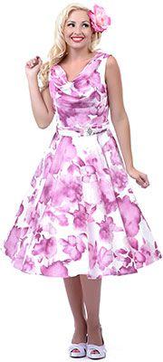 SALE! Unique Vintage White & Pink Floral Scoop Neck Belted Swing Dress