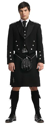 Fancy Friday's | www.TwoPinkHouses.com - Black Spirit kilt outfit from Highland Store