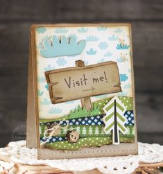 Visit Me card by Laurie Schmidlin for Paper Smooches - Wood Sign die, Borders 1 Dies