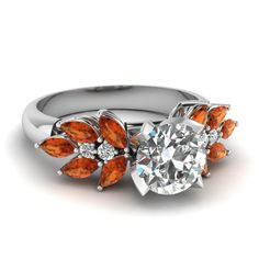 Large Engagement Rings Round Cut diamond Side Stone Engagement Rings with Orange Sapphire in 14K White Gold exclusively styled by Fascinating Diamonds