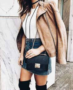 Denim mini skirt and white shirt with beige leather jacket and thigh high boots. Perfect fashion outfit for casual and street wear. Fall Winter Outfits, Autumn Winter Fashion, Looks Style, My Style, Hipster Grunge, Fashion Outfits, Womens Fashion, Fashion Trends, Fashion News
