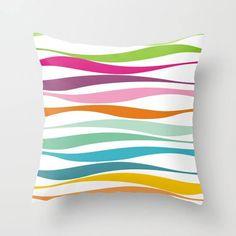 Rainbow Colorful waves pillow,decorative throw pillow,abstract pillow cover,accent pillow, home decor,throw pillow case,modern pillow