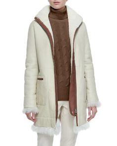 Loro Piana Jay Shearling Fur Funnel-Collar Coat Fall 2015