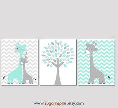 Aqua and grey Nursery Art Print Set Kids Room by SugarInspire