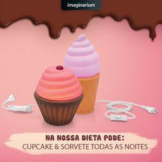 Aqui só não pode passar vontade, hein!? Qual a sua favorita: Luminária Cupcake ou Luminário Sorvete?