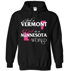 A VERMONT MINNESOTA GIRL T-Shirts, Hoodies. CHECK PRICE ==► https://www.sunfrog.com/States/A-VERMONT-2DMINNESOTA-girl-Pink02-Black-Hoodie.html?id=41382