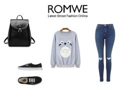 """ROMWE CONTEST: GREY SWEATSHIRT"" by almaaa789 ❤ liked on Polyvore featuring Vans, women's clothing, women's fashion, women, female, woman, misses and juniors"