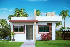 Small House Plan Design - The best interior design ideas for beach house plans range from color, shape, texture, and beach and sea accessories. Style At Home, Modern Style Homes, Small House Design, Modern House Design, Bungalow Haus Design, Modern House Facades, Modern Houses, Beach House Plans, Bedroom House Plans