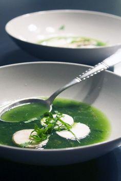 Ramsløgsuppe med svampe // Soup of ramson and mushromms