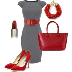 What I Like: dress shape / color, pop of red I probably would have one or two fewer red accessories with this!