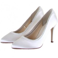 Billie by Rainbow Club Ivory or White Glitter Shimmer Sparkly Satin Dyeable Wedding or Occasion Shoes