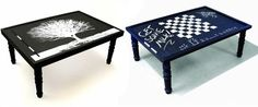 Chalkboard Coffee Table: Bet I could make one cheaper! Cute for the gameroom!