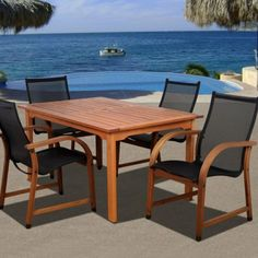 Indiana 5 Piece Rectangular Eucalyptus Patio Dining Set by International Home Miami. $988.99. Comes with bonus FeronGard wood preservative for lasting beauty. Galvanized steel hardware reinforces sturdy construction. Made of FSC-certified, plantation-harvested eucalyptus. Some assembly required; table features umbrella hole. Quick-dry sling seat and back in stylish black. Striking the perfect balance between classic elegance and contemporary aesthetics, the Indiana 5 Piece Recta...