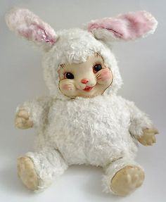Vintage-Rushton-Happy-Face-Rabbit-Bunny-Rubber-Face-Stuffed-Plush-Animal