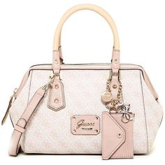 GUESS Park Lane Frame Satchel ($55) ❤ liked on Polyvore featuring bags, handbags, light rose, handle satchel, pink purse, guess handbags, zip top bag and satchel style handbags