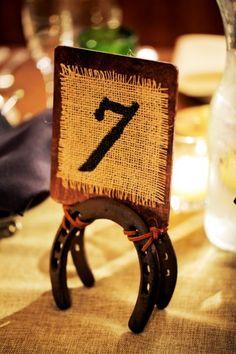 Rustic burlap and horseshoe table number- genius!