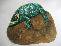 Painted rocks / Painted stone / Chameleon on by MeloArtGallery, $45.00