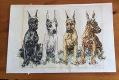 Great Dane Art Puppies with ears docked by aTreasureInStore, $59.00
