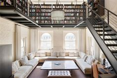 Loft library, conserving living room space. *same room, different angle pinned below